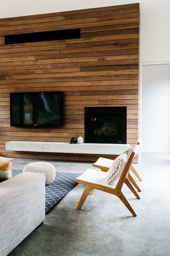 Modern wood panelling u2013 living room interior (Murray Mitchell - wood wall living room