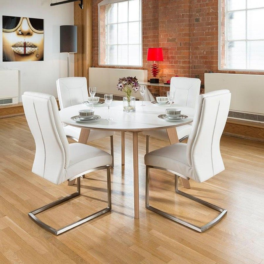 white round kitchen table Large cm luxury round dining table set with four white padded chairs Super high quality