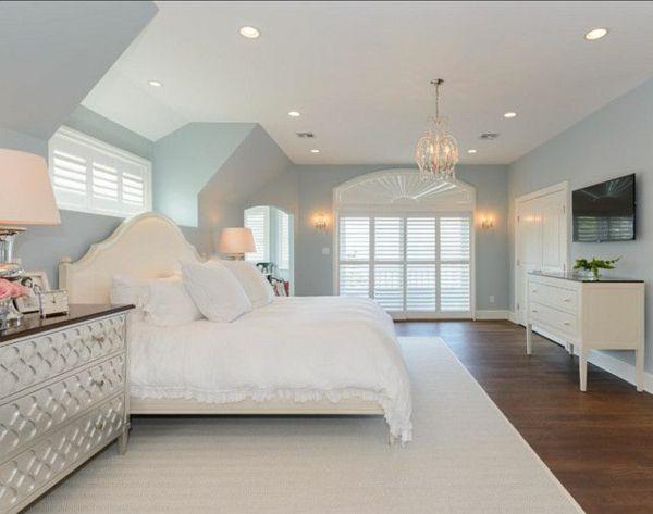 einrichtungsideen schlafzimmer bett teppichboden wandfarbe blau - schlafzimmer gestalten wandfarbe