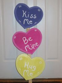 Valentine's Day Conversation Hearts Wood Lawn Decoration ...