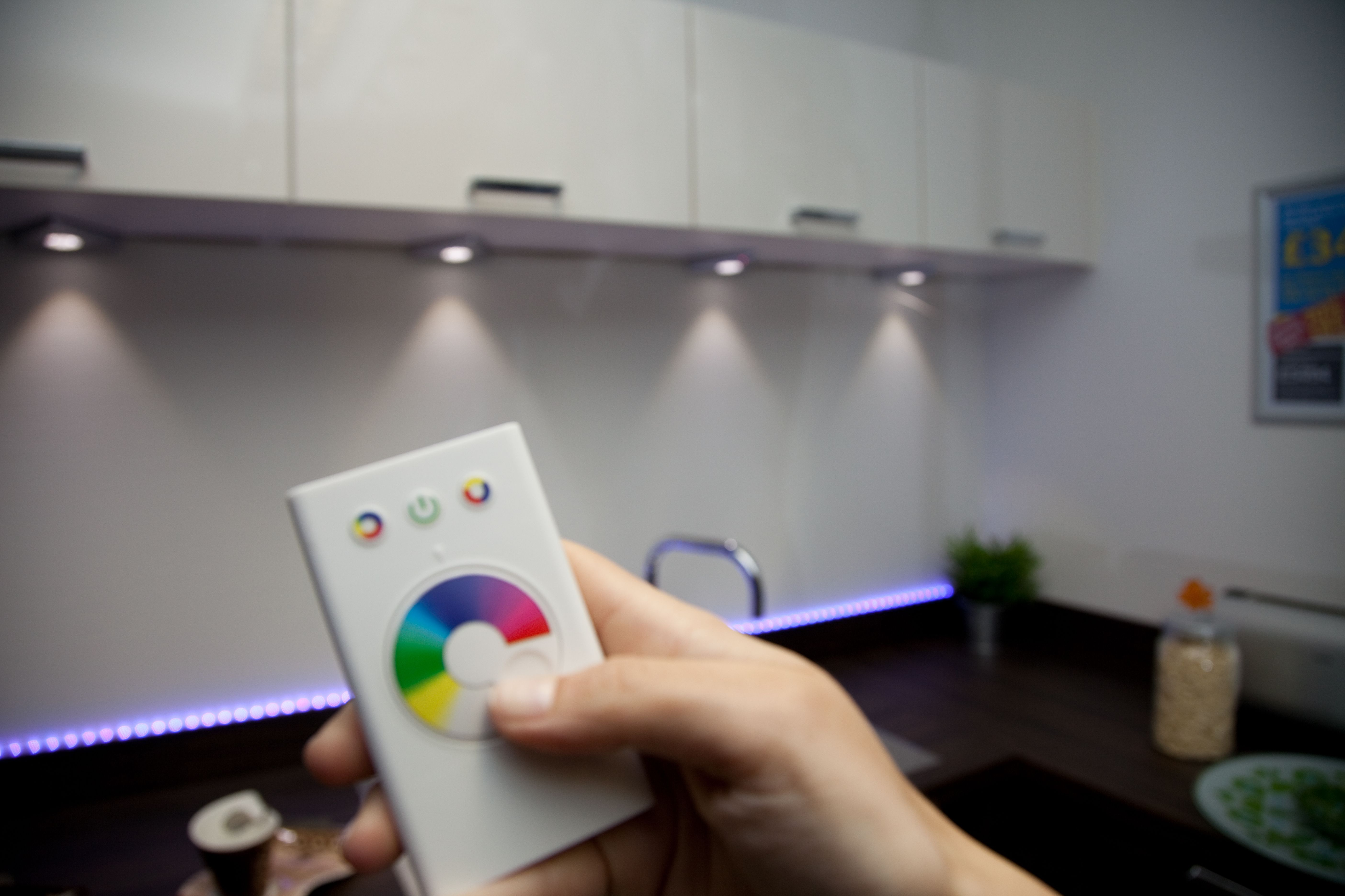 led kitchen lights Change the mood by changing the colour colour changing LED lighting helps set ambiance in