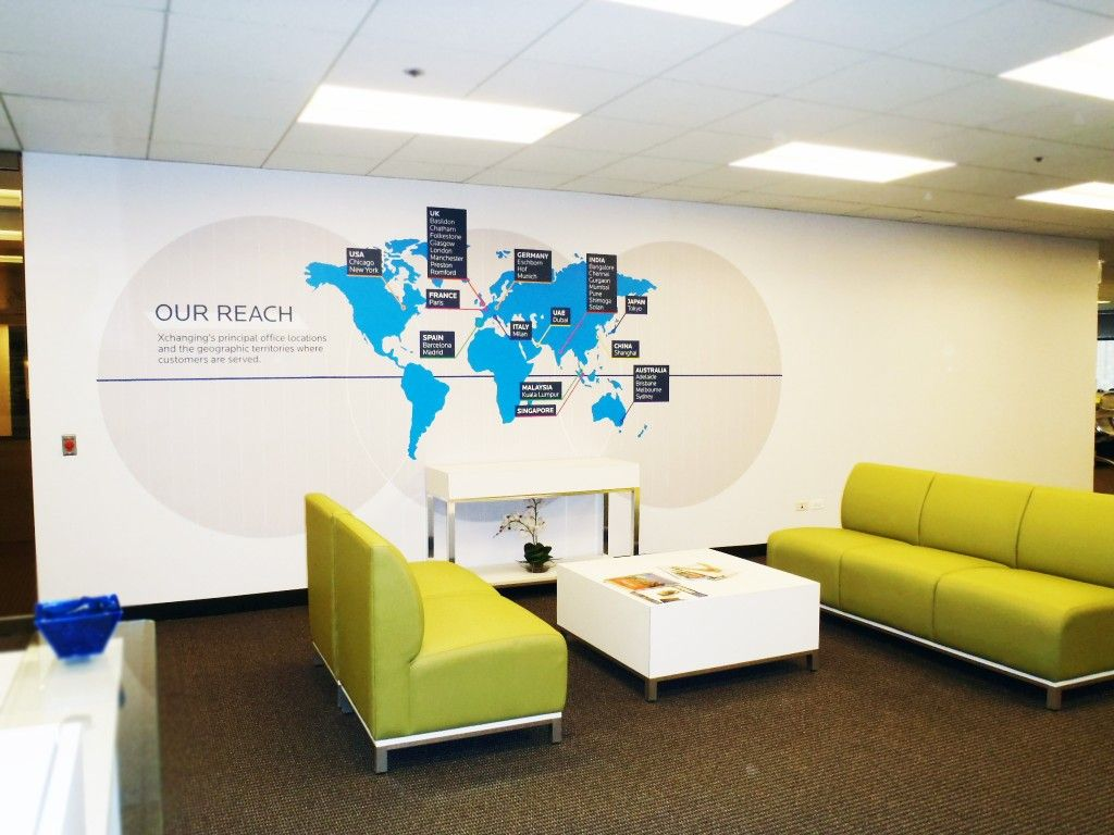 Office Wall Design Xchanging Map Wall Graphic Graphic Walls Pinterest