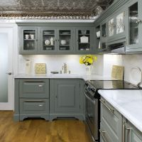 Combinate Gray Kitchen Cabinets with Black Appliances ...