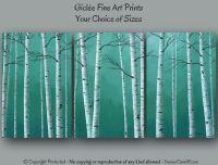 Birch tree artwork, Dining room wall art, Teal master ...