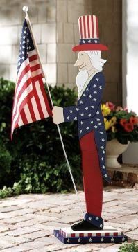 Patriotic Uncle Sam Outdoor Wooden Flag Holder 4th of July ...