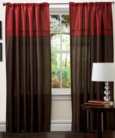 Take a look at this Red \ Brown Geometrica Curtain Panel - Set of - red curtains for living room