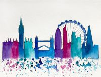 London Skyline, Original Watercolor Painting, Illustration ...