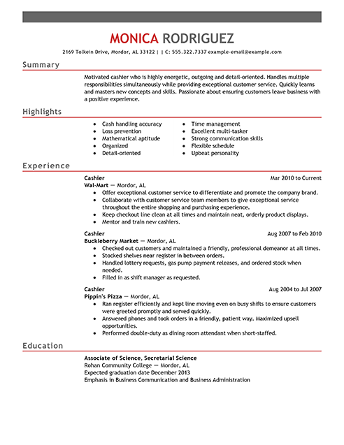 sample resume for convenience store cashier professional resumes