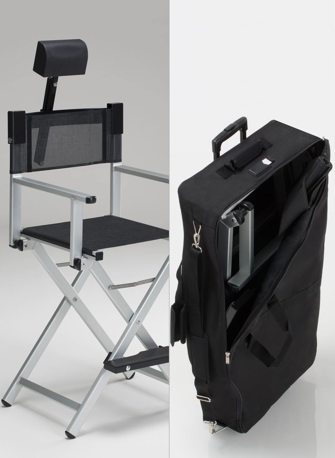 Make Up Studio Chairs Aluminum Makeup Chair Set With Headrest And Trolley Bag