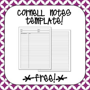 Free Cornell Notes Template Flippables and Interactive Notebooks - cornell note template