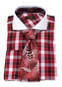 Steveland Ties Bow | Steven Land Red Checkered Dress Shirt ...