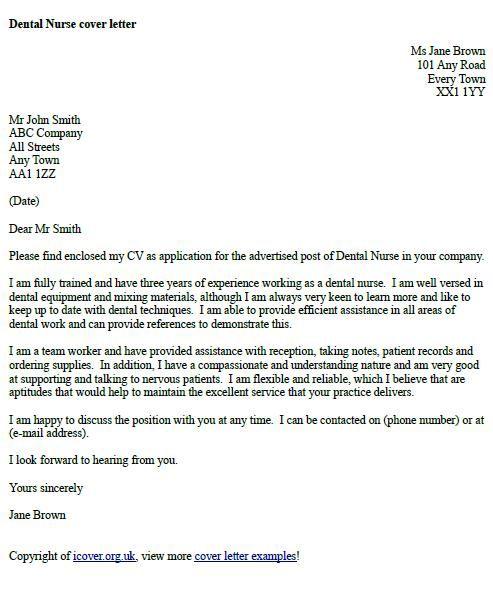 Dental Nurse Cover Letter Example cover letter examples - dental hygienist cover letter