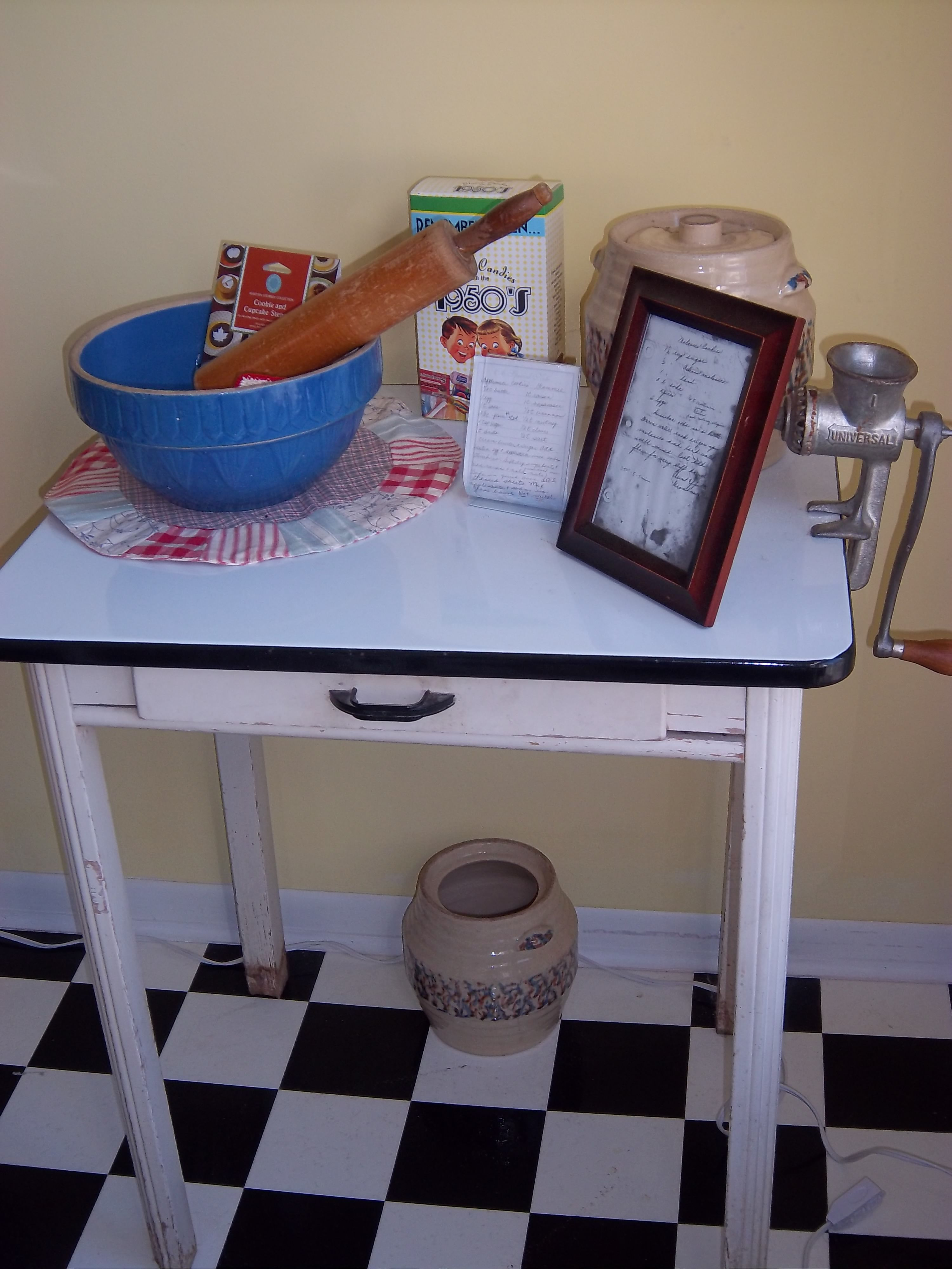 vintage kitchen tables Enamel top table with vintage kitchen items