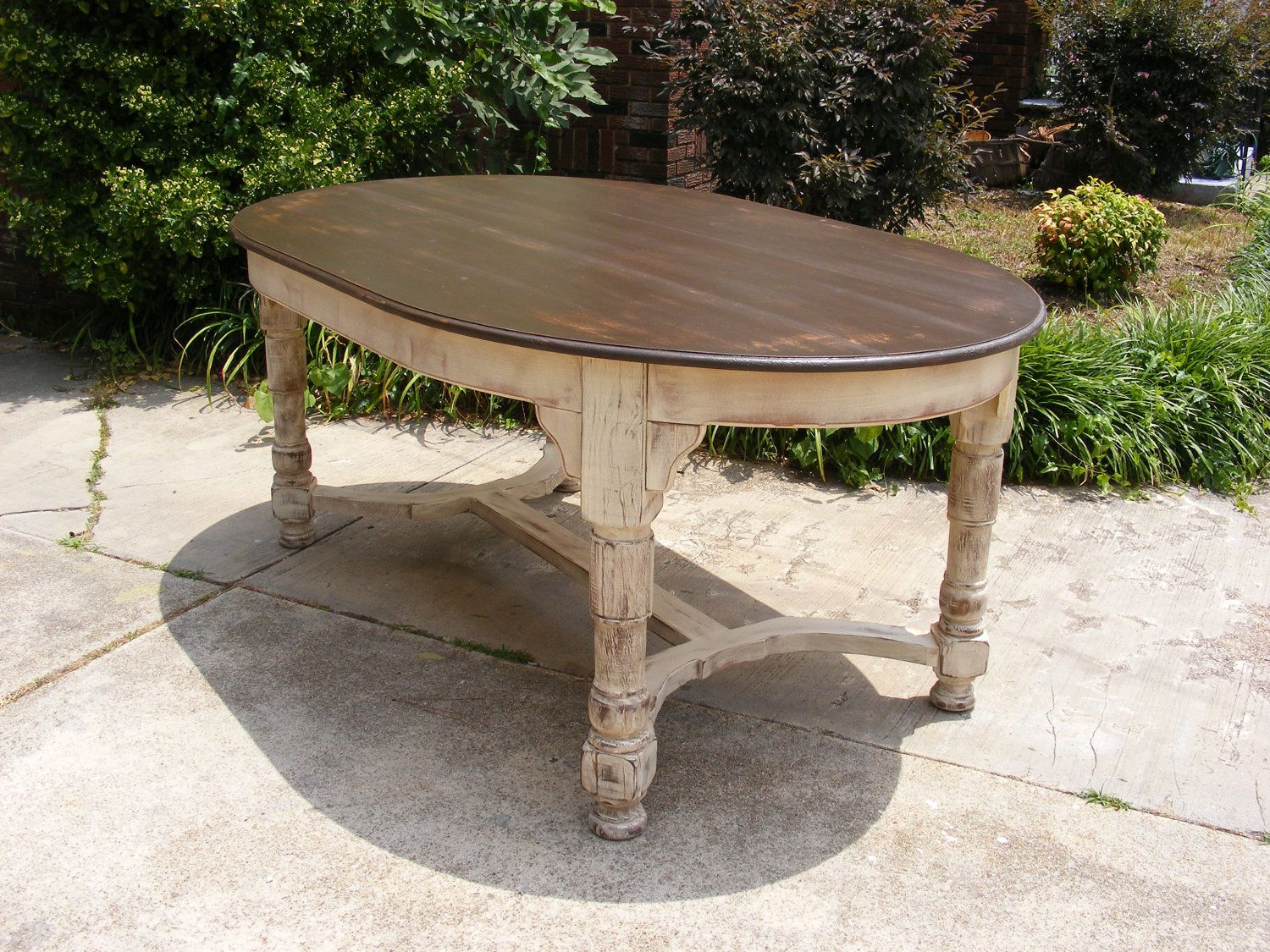 oval kitchen table Oval Dining Table Completely Handcrafted Distress Brown Top and Distressed Ivory Bottom