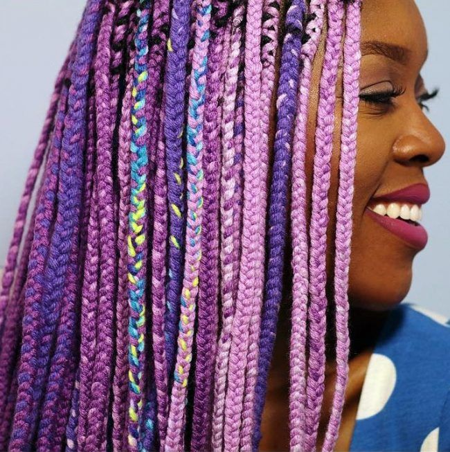 Purple Yarn Braids