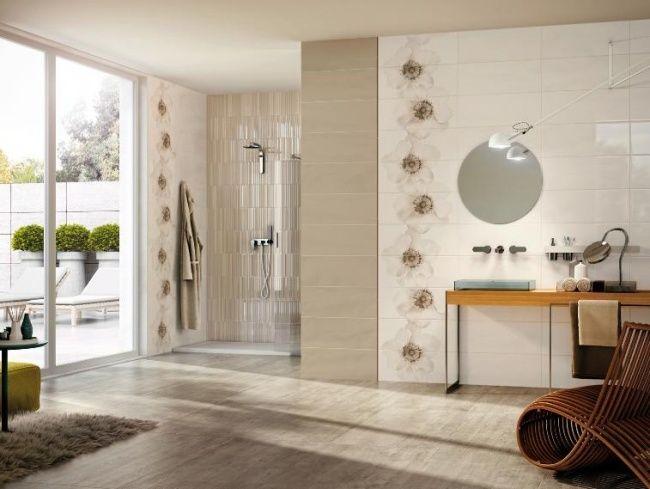 Badezimmer Fliesen Atlas Concorde Weiß Beige Blumen Dusche Bereich    Sandfarbene Badezimmer