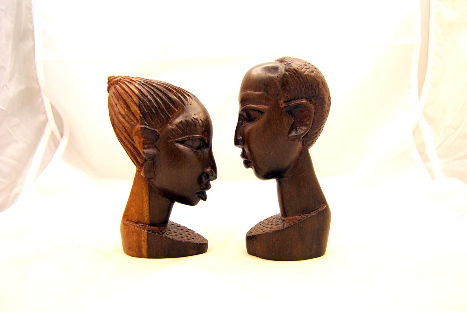 African Wooden Wall Art Two Vintage Carved Heads Carved Wood Heads Native