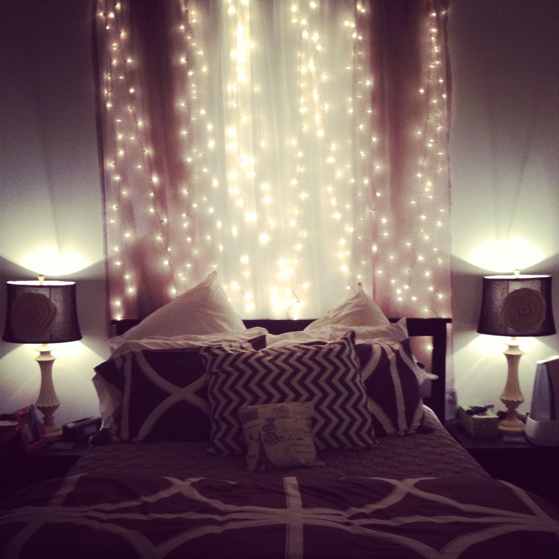Fairy lights in the bedroom