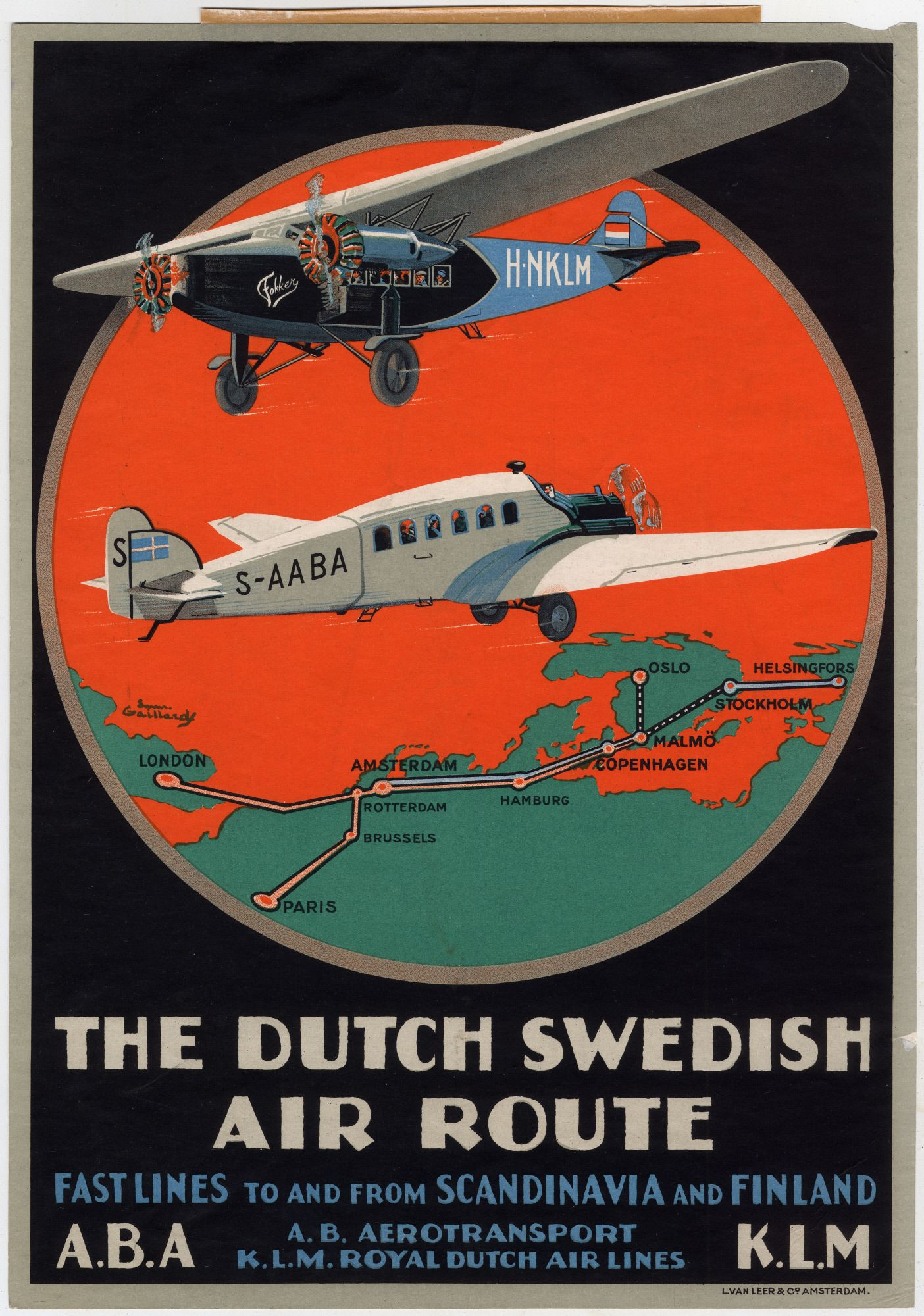 Poster Werbung The Dutch Swedish Air Route Poster Advertising