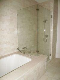 Shower Bathtub & Shower Combo Crema Marfil Tile Bathroom ...