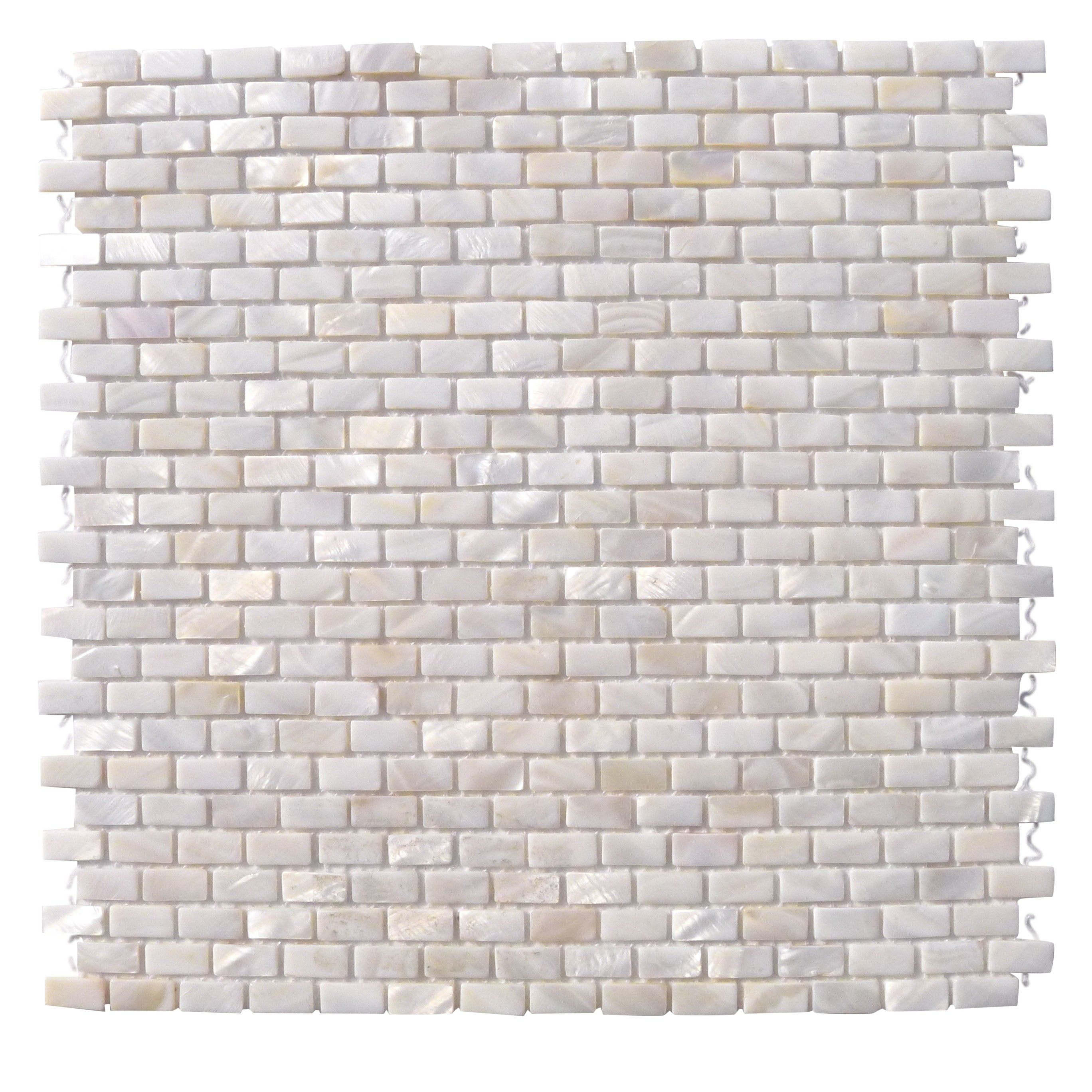 White Brick Look Tile Mini Brick Oyster White Pearl Tile Mini Brick Pattern 16
