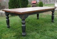 The Louden Stockton Farm Table in Black rustic distressed ...