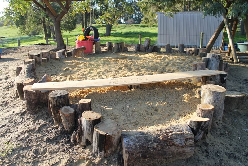 Our home made sand pit idea from a pinterest photo -) NATURAL - home playground ideas