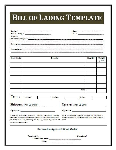 Printable Sample Bill Of Lading Template Form Real Estate Forms - blank bill of lading form template