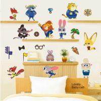 #Zootopia Animal World Cartoon Nursery Wall Sticker # ...