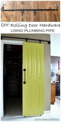 DIY: Rolling door hardware using plumbing pipe. Get the