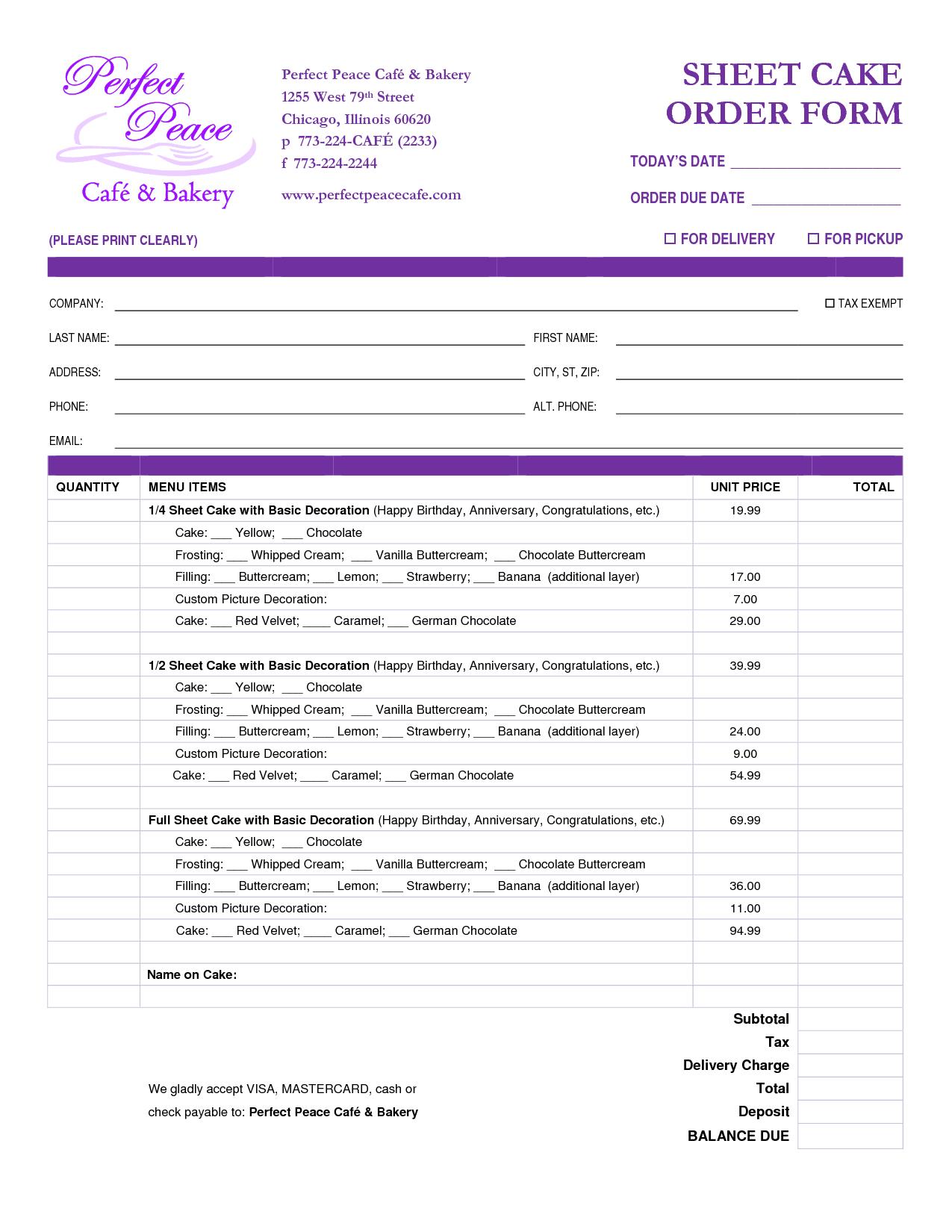 online order form template resume sample fast food