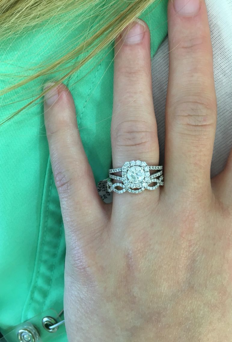 infinity twist wedding band Split shank engagement ring with cushion cut halo and twisted wedding band