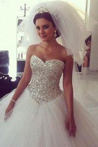 Bling Crystal Sweetheart Princess Wedding Dresses White ...