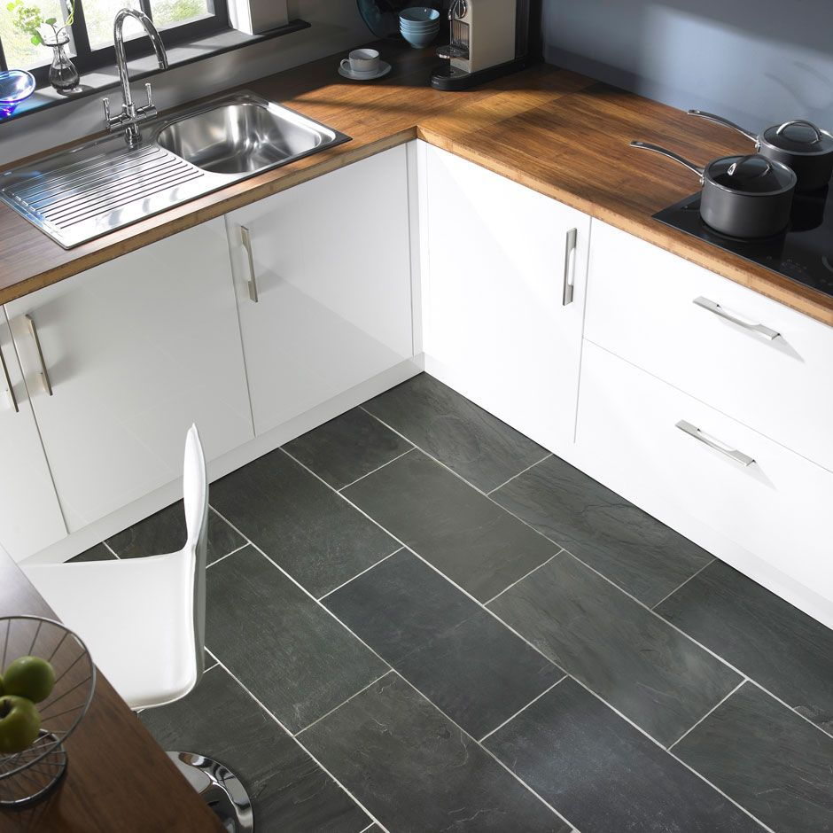 kitchen floor tiles modern gray kitchen floor tile idea and wooden countertop plus white painted cabinets design feat contemporary