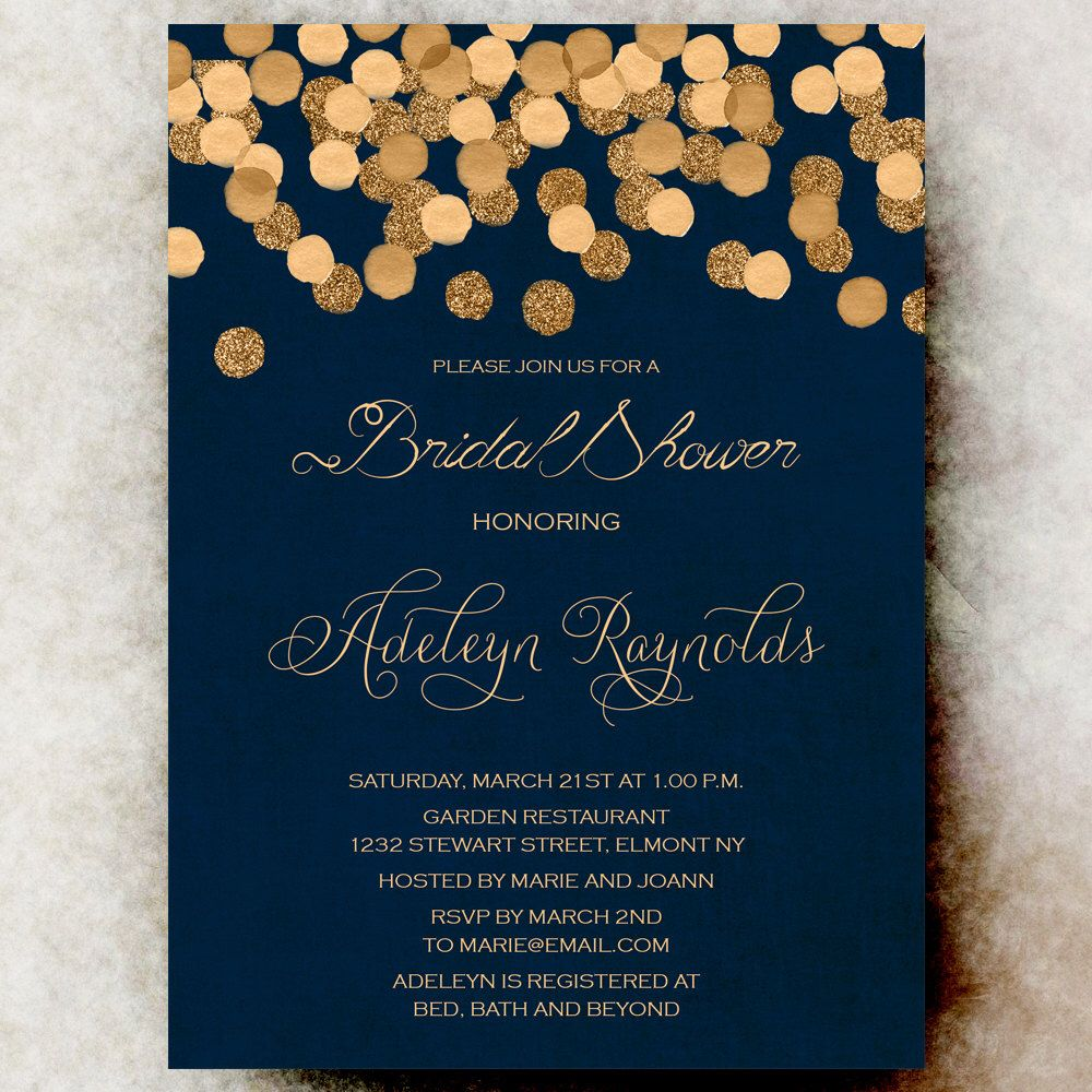 Gold Glittering Confetti Bridal Shower Invitation