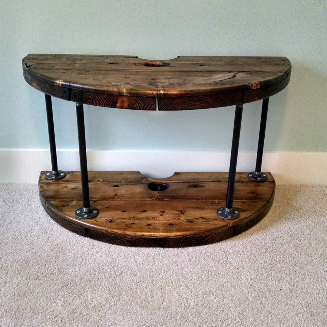 First attempt at making furniture wire spool tv xbox stand diy wire spool tableswooden