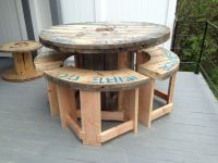 5' wire spool I made into a bar height patio table with 4 ...