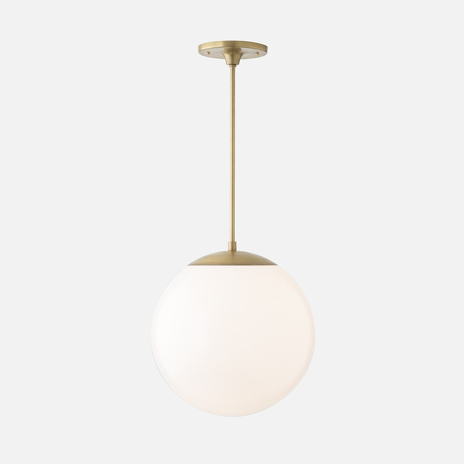 Over Table Light Fixture Luna Pendant Natural Brass With 12 Quot Shade The Rich