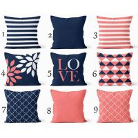 Throw Pillow Covers Navy Coral White Navy Blue Pillow ...