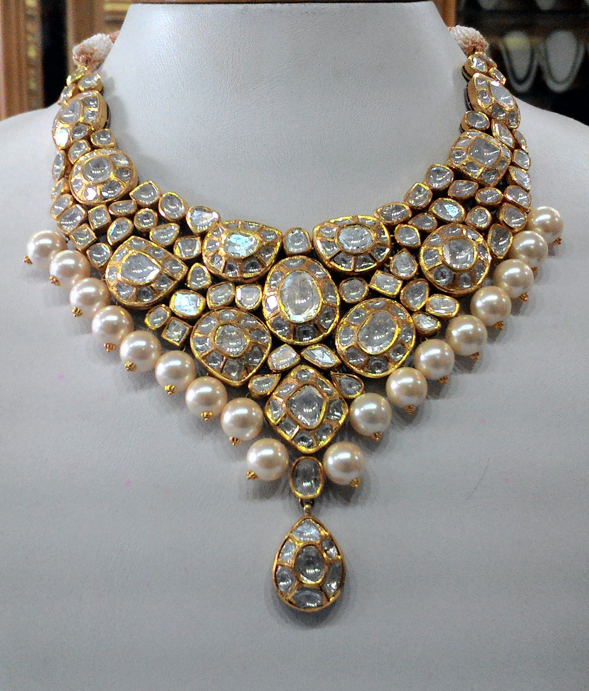 wedding jewelry Vintage necklace ideal for special occasions set with eye popping clear old cut diamonds Kundan Meena Jewelry Vilandi Jewelry Diamond polki jewelry Bridal