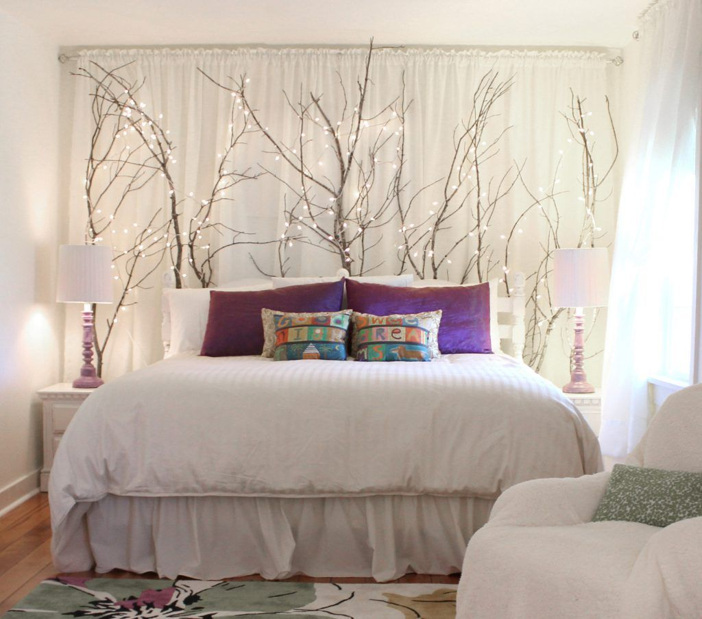Curtains On Wall Behind Bed Ideas For Using Branches As Indoor Decor Here Placed