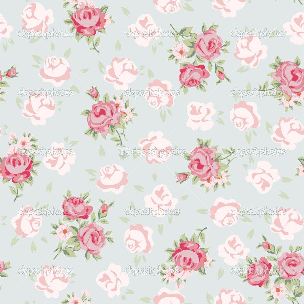 Shabby chic flowers wallpaper