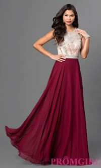Image of long burgundy red prom dress with beaded bodice ...