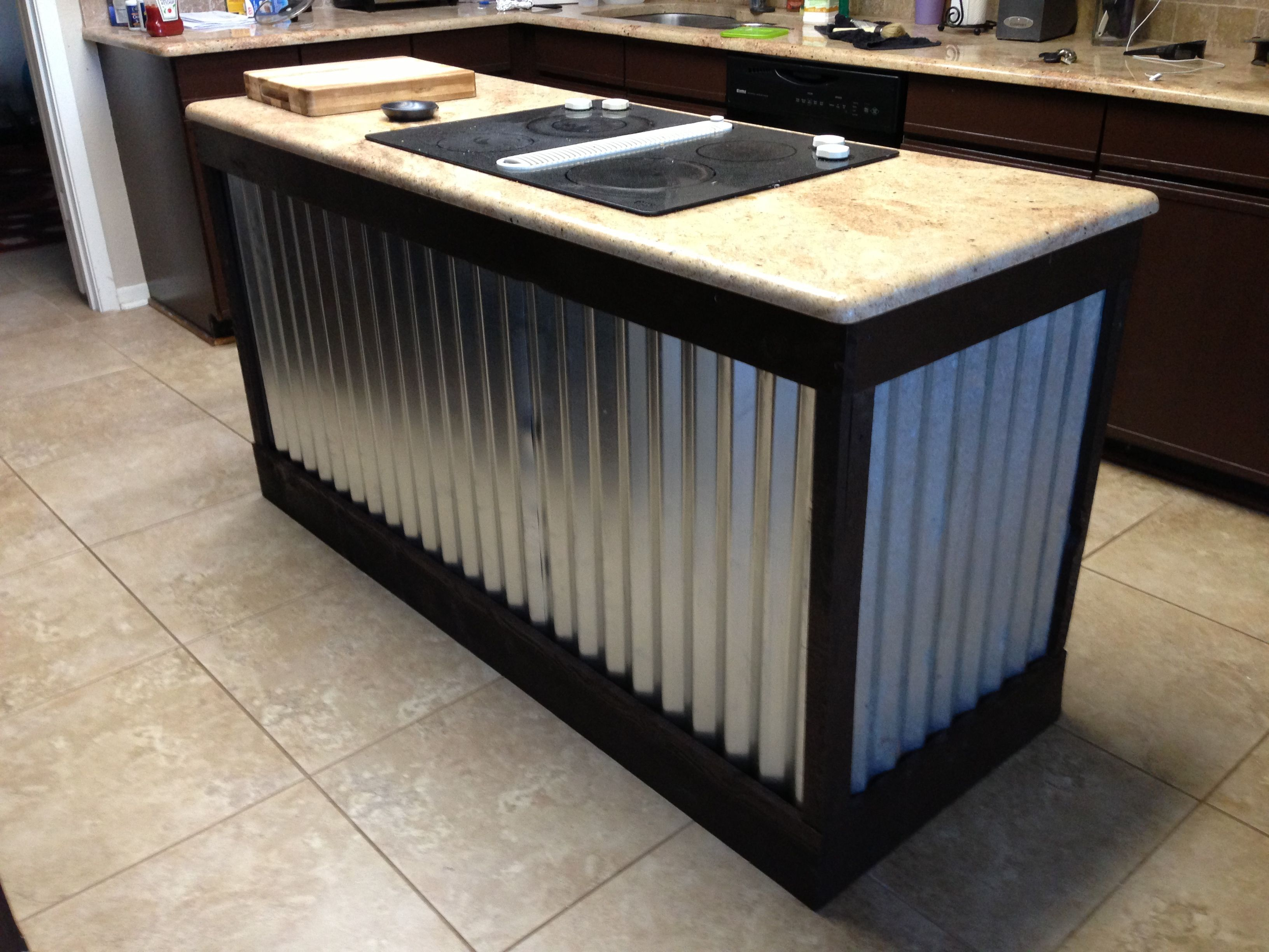 Corrugated Metal Kitchen Island Project Done! Galvanized Tin On Island. | Future Projects