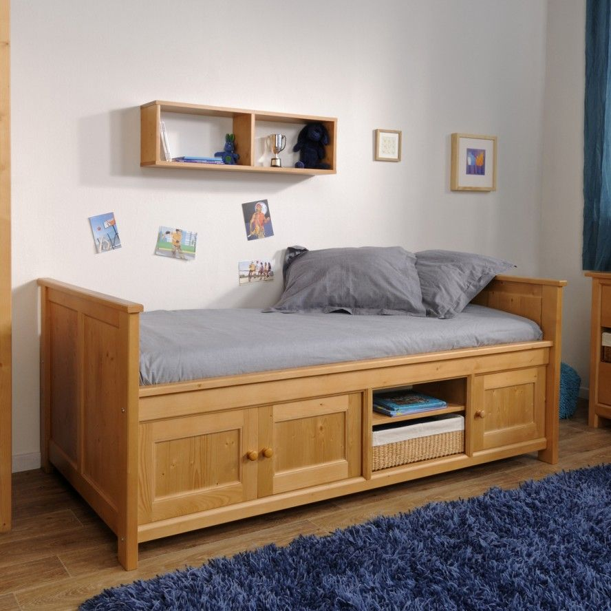 Cool solid pine bed frame under bed storage kids