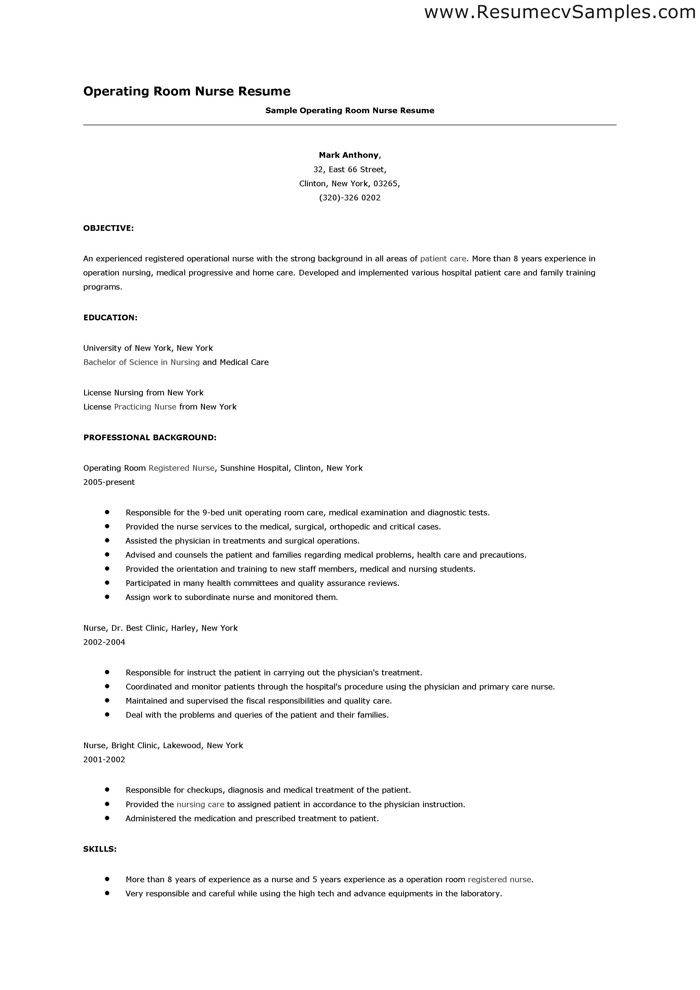 Operating Room Nurse Resume - http\/\/wwwresumecareerinfo - example of registered nurse resume