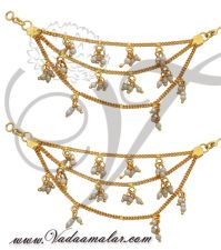 Earrings With Attached Pearl Hair Chain India Buy Online ...