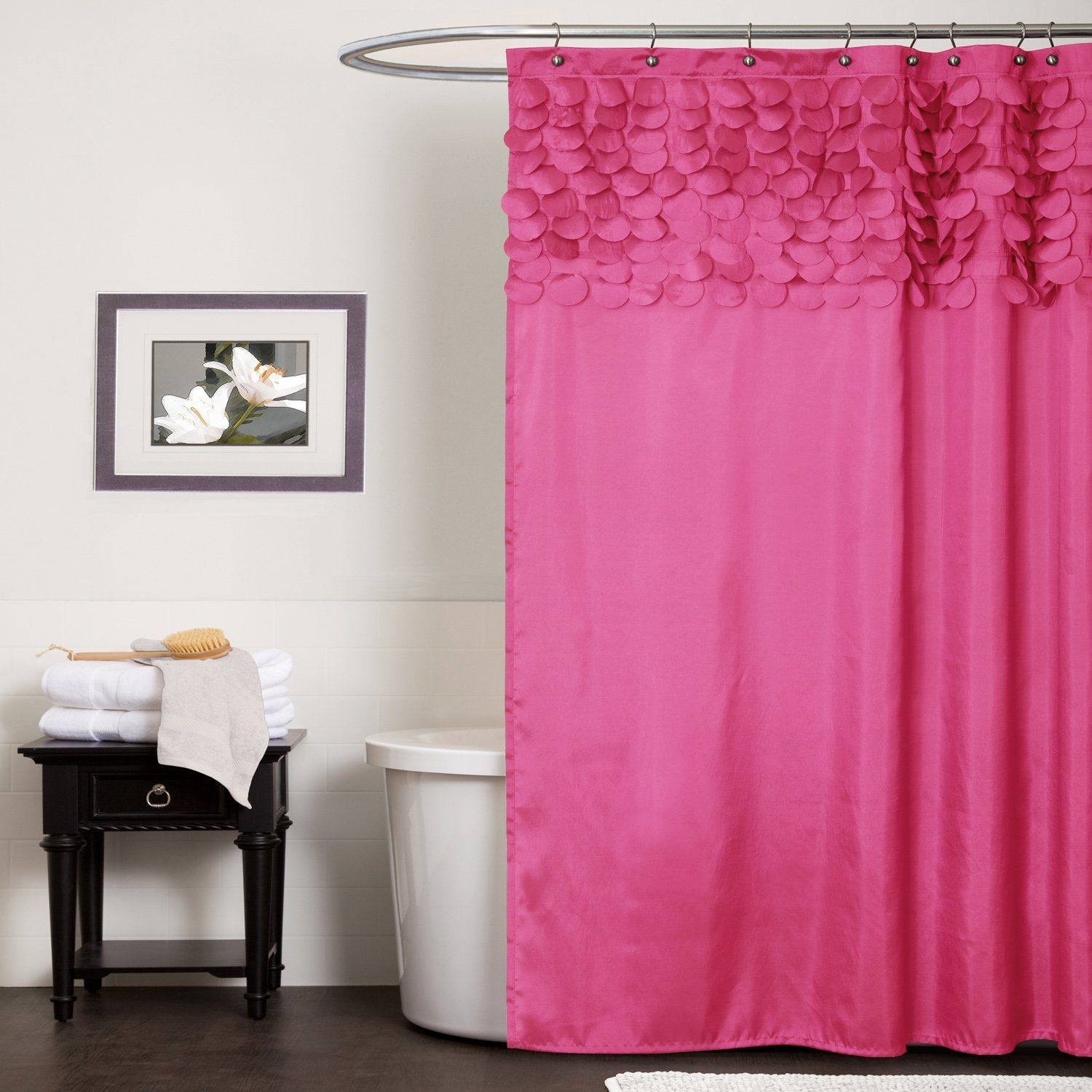Hot pink shower curtain 1000 images about curtains from on pinterest pink orange fuschia ombre
