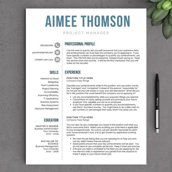 Modern Resume Template for Word - 1 and 2 Page Resume Template - 2 page resume template