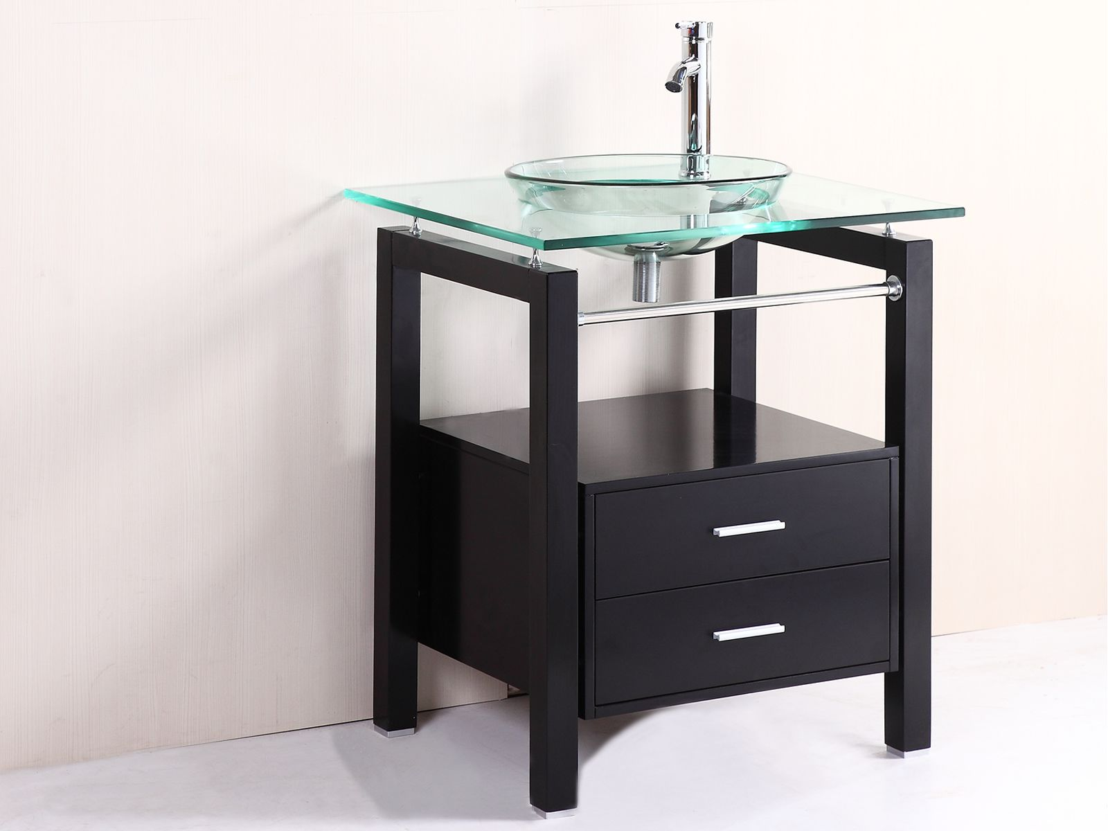 Modern 28 bathroom tempered clear glass vessel sink vanity cabinet w faucet